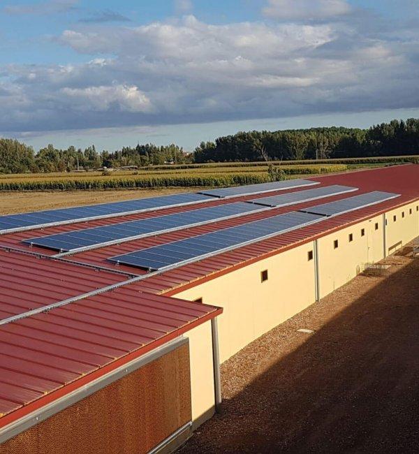 Instalación fotovoltaica en granja avícola aislada de Léon